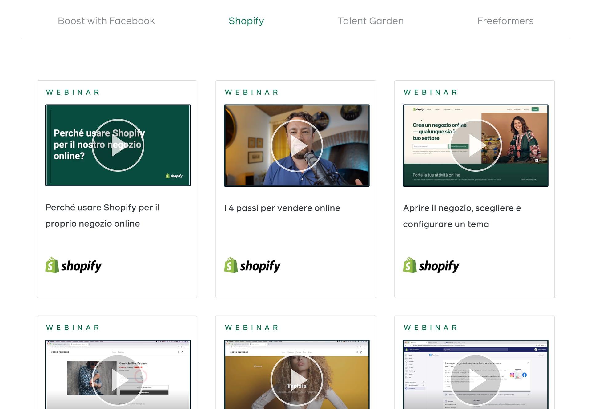 #piccolegrandimprese, mini corso in 7 lezioni su Shopify